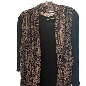 Susan Graver Print Chiffon Vest w/Liquid Knit Top